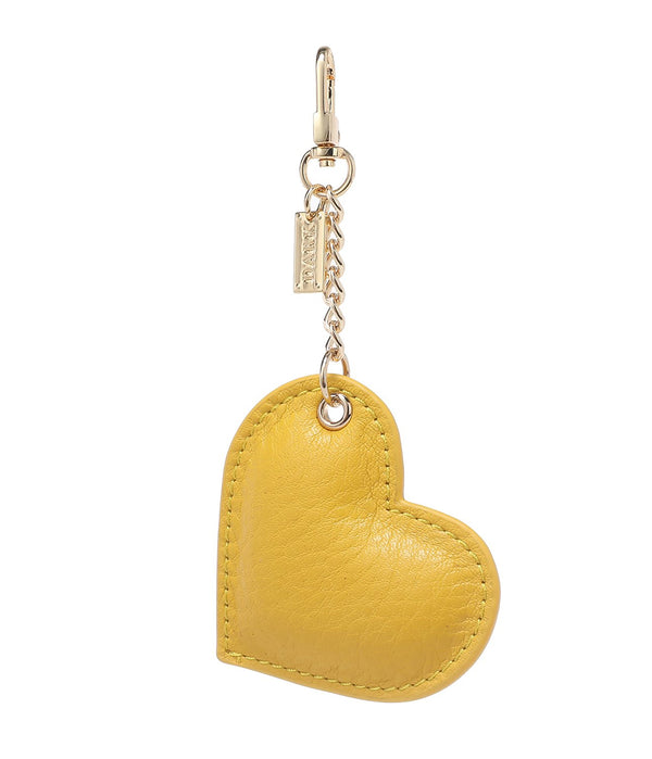 LEATHER HEART CHARM YELLOW