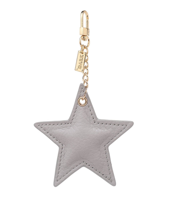 LEATHER STAR CHARM LIGHT GREY