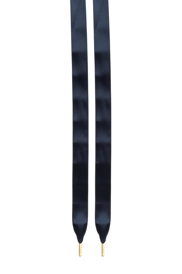 SILK SHOE LACES NAVY BLUE