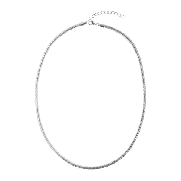 SNAKE CHAIN NECKLACE THIN SILVER 60 CM