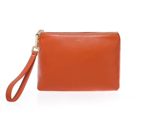 LEATHER STANDING POUCH ORANGE