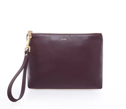 LEATHER STANDING POUCH RICH PLUM