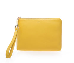 LEATHER STANDING POUCH YELLOW