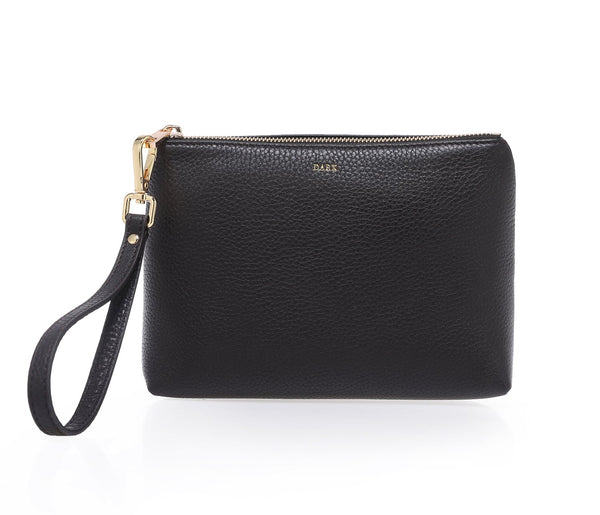 LEATHER STANDING POUCH BLACK W/GOLD
