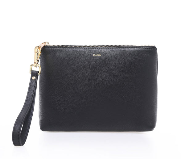 LEATHER STANDING POUCH DARK GREY