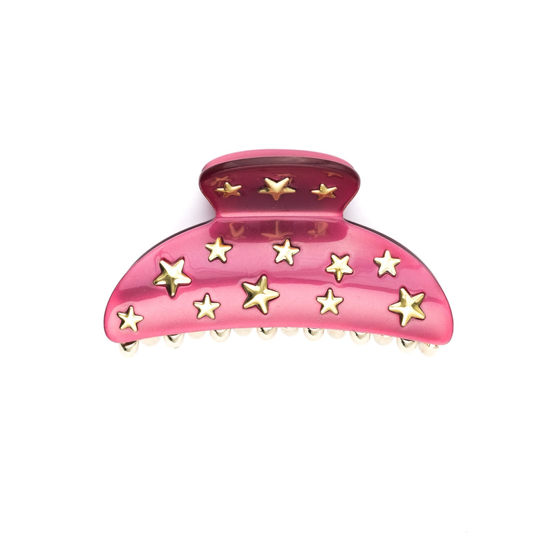 STAR STUD HAIR CLAW LARGE BERRY