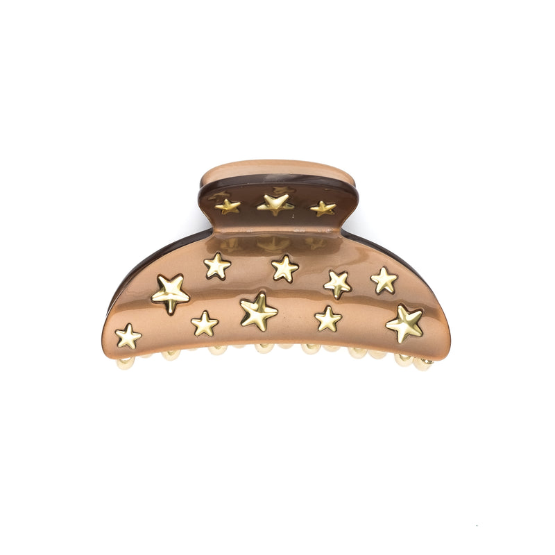 STAR STUD HAIR CLAW LARGE COGNAC