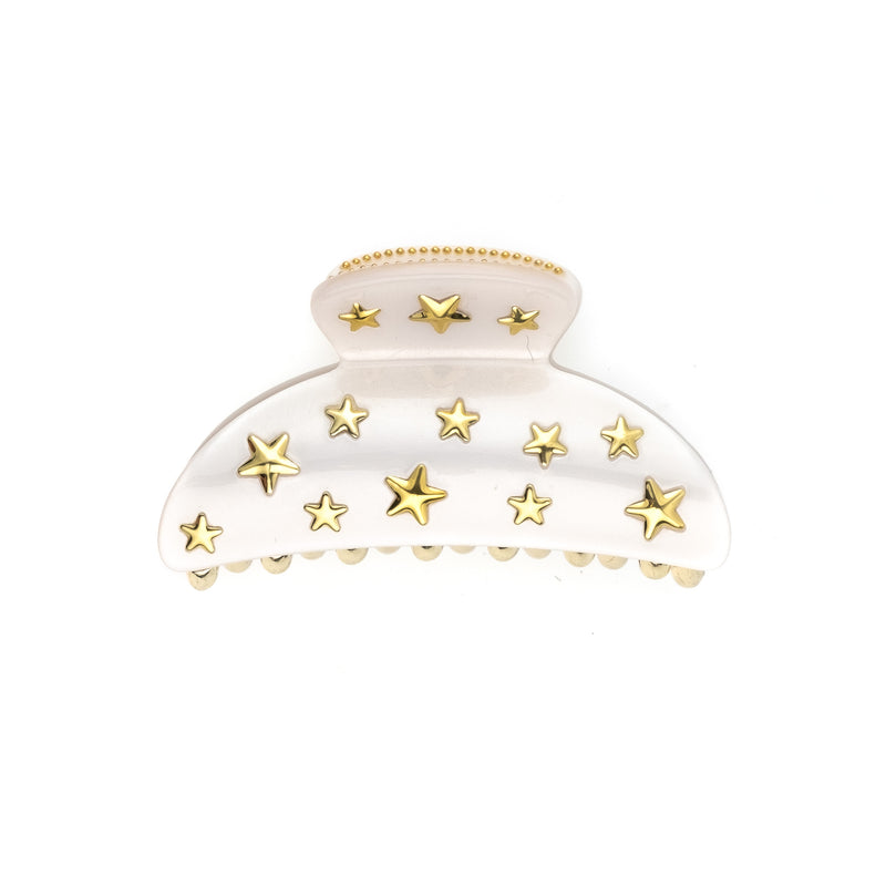 STAR STUD HAIR CLAW LARGE WHITE