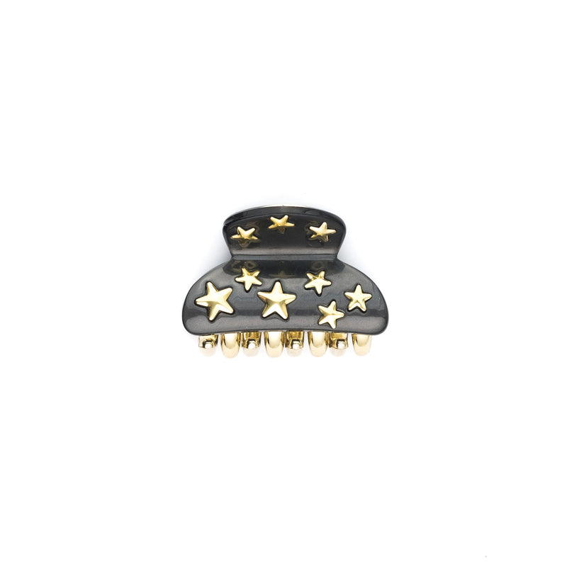 STAR STUD HAIR CLAW SMALL CHARCOAL