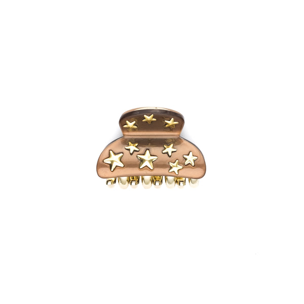 STAR STUD HAIR CLAW SMALL COGNAC
