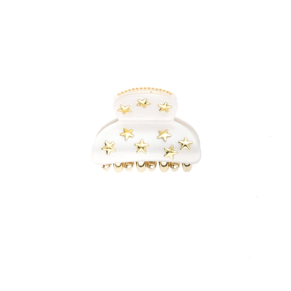 STAR STUD HAIR CLAW SMALL WHITE