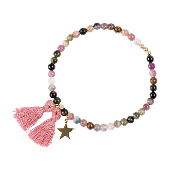 STONE BEAD BRACELET 4 MM FUNKY ROSE