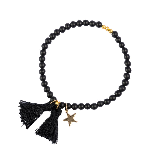 STONE BEAD BRACELET 4 MM MATTE BLACK W/GOLD