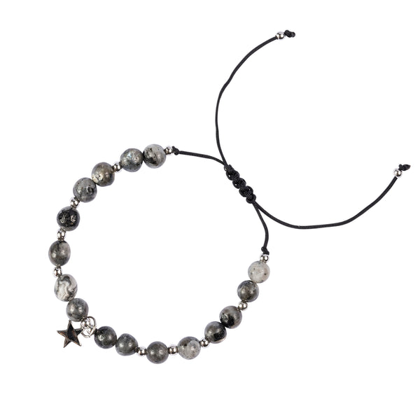 STONE BEAD BRACELET 6 MM DARK GREY W/SILVER