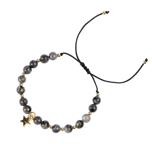 STONE BEAD BRACELET 6 MM DARK GREY W/GOLD