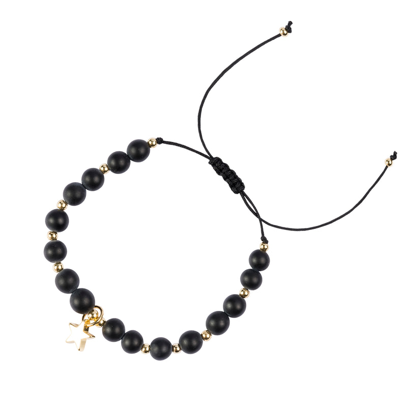 STONE BEAD BRACELET 6 MM MATTE BLACK W/GOLD