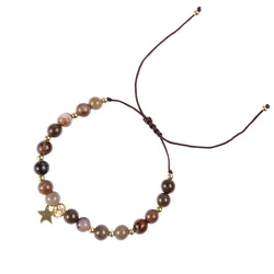 STONE BEAD BRACELET 6 MM SOFT BROWN
