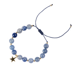 STONE BEAD BRACELET 8 MM BLUE MIX