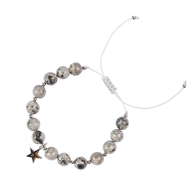 STONE BEAD BRACELET 8 MM GREY