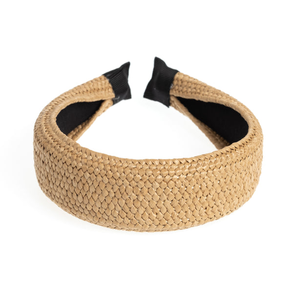 STRAW HAIR BAND BROAD NATURE
