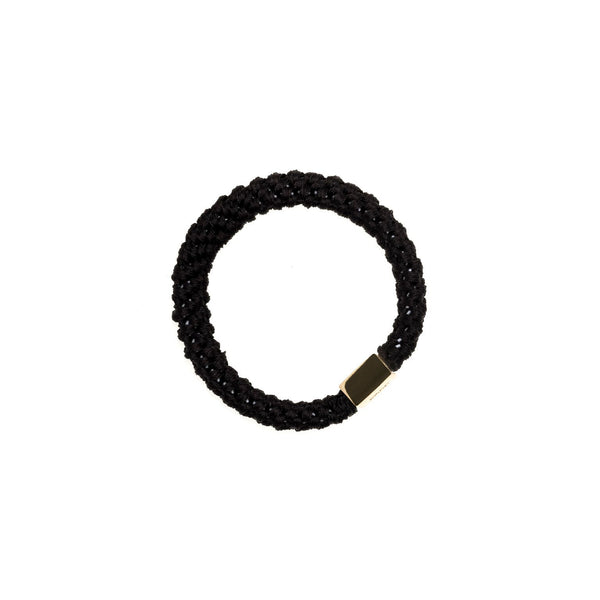 FAT HAIR TIE BLACK W. GOLD PLATE