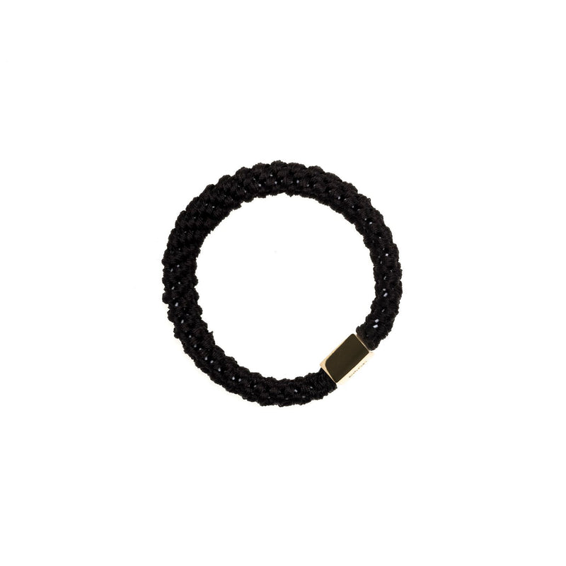 FAT HAIR TIE BLACK W/GOLD