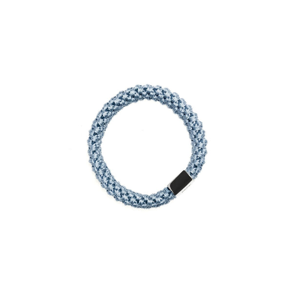 FAT HAIR TIE 501 BLUE W. SILVER PLATE
