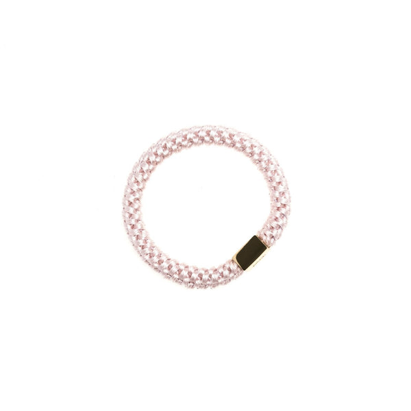 FAT HAIR TIE PALE ROSE W/GOLD