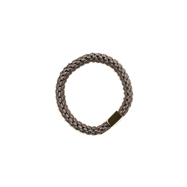 FAT HAIR TIE GREY W/GOLD PLATE