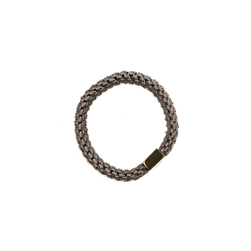 FAT HAIR TIE GREY W. GOLD PLATE