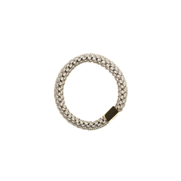 FAT HAIR TIE LIGHT GREY W/GOLD