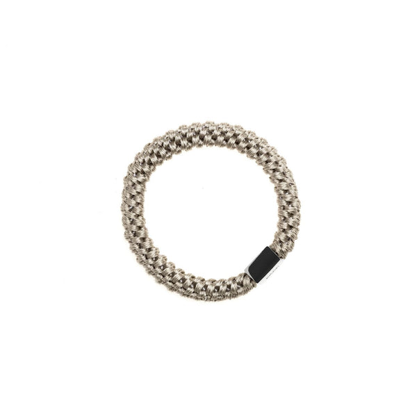 FAT HAIR TIE LIGHT GREY W/SILVER