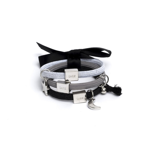 HAIR TIES 3 PK CHARM COMBO BLACKS W.SILVER