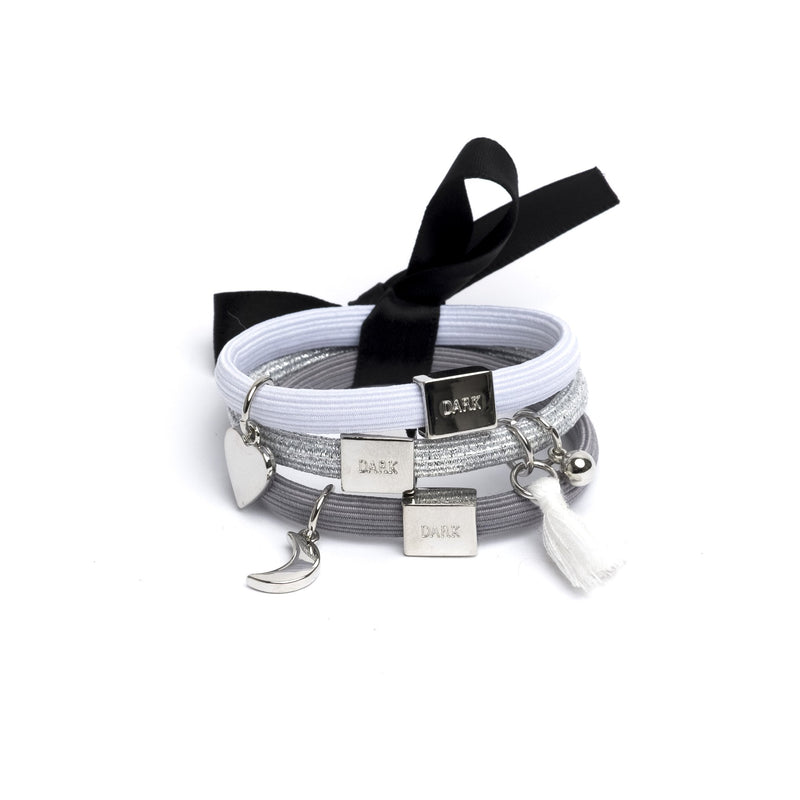 HAIR TIES 3 PK CHARM COMBO GREYS W.SILVER