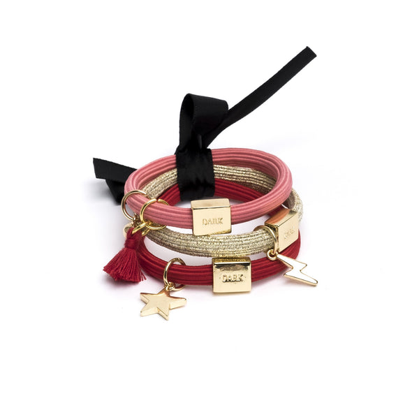 HAIR TIES 3 PK CHARM COMBO REDS W.GOLD