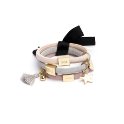 HAIR TIES 3 PK CHARM COMBO POWDERS W.GOLD