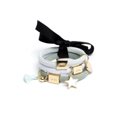HAIR TIES 3 PK CHARM COMBO TEALS W.GOLD