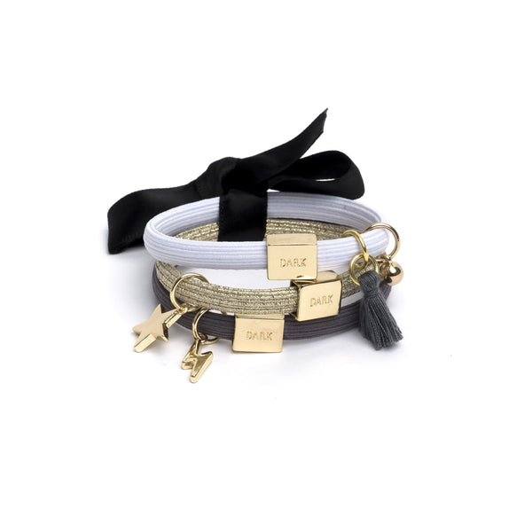 HAIR TIES 3 PK CHARM COMBO GREYS W.GOLD