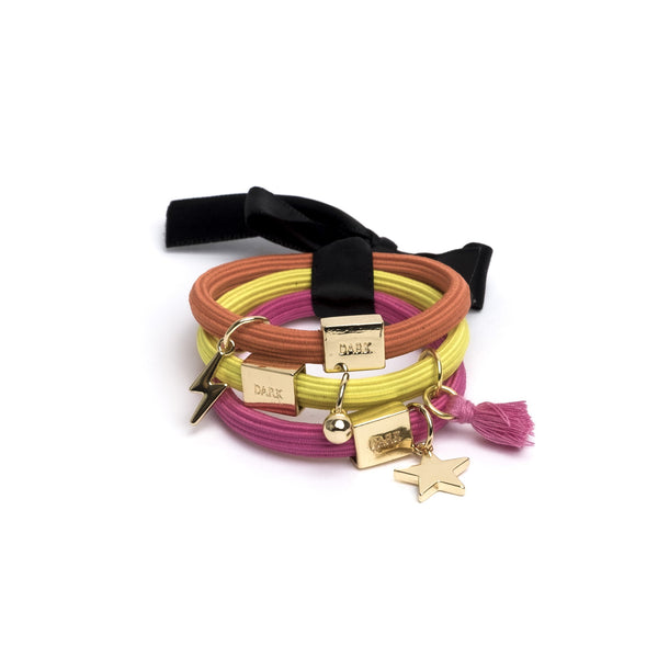 HAIR TIES 3 PK CHARM COMBO COLORFUL W.GOLD