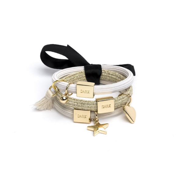 HAIR TIES 3 PK CHARM COMBO SANDS W.GOLD