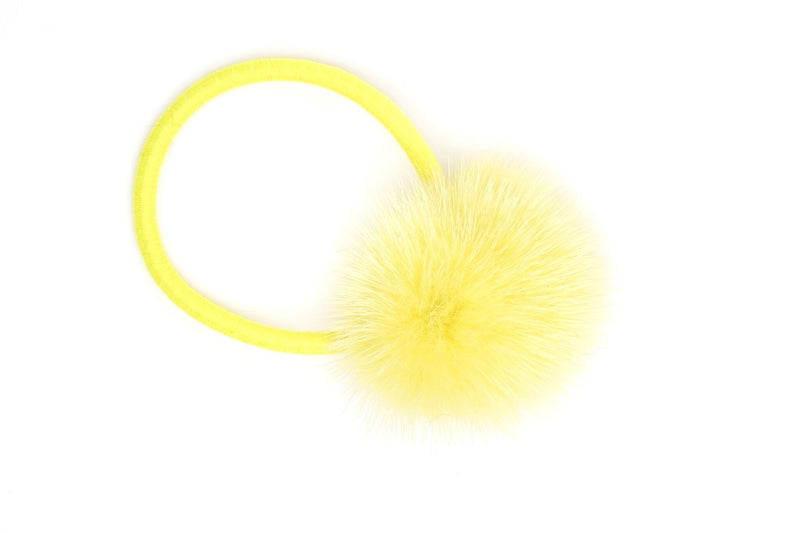 MINK HAIR POM SUMMER YELLOW