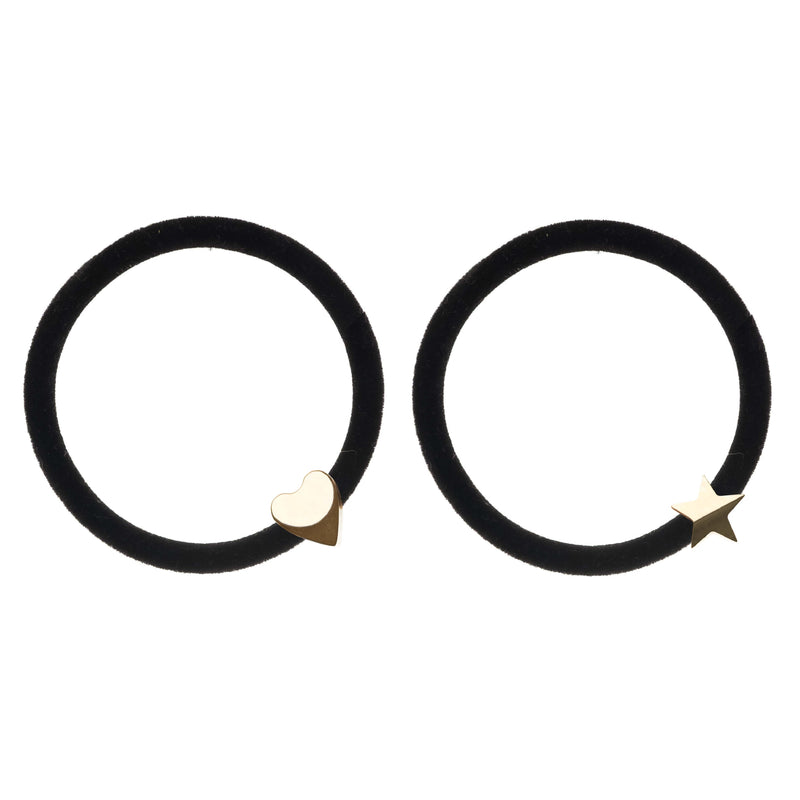 2 PK VELVET HAIR TIE BLACK W/GOLD HEART & STAR