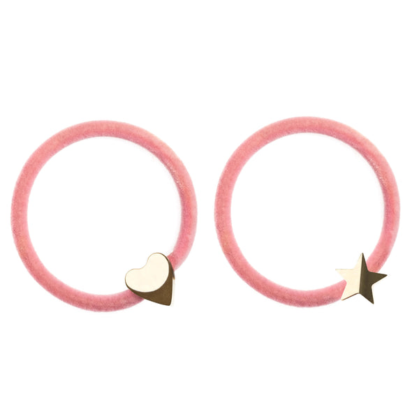 2 PK VELVET HAIR TIE BLUSH ROSE W/GOLD HEART & STAR