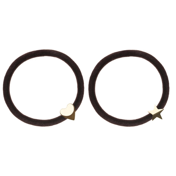 2 PK VELVET HAIR TIE CHOCOLATE BROWN W/GOLD HEART & STAR
