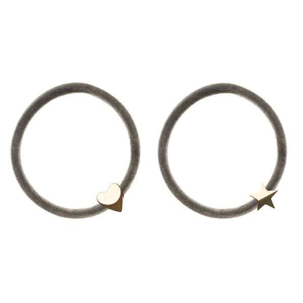 2 PK VELVET HAIR TIE GREY W/GOLD HEART & STAR
