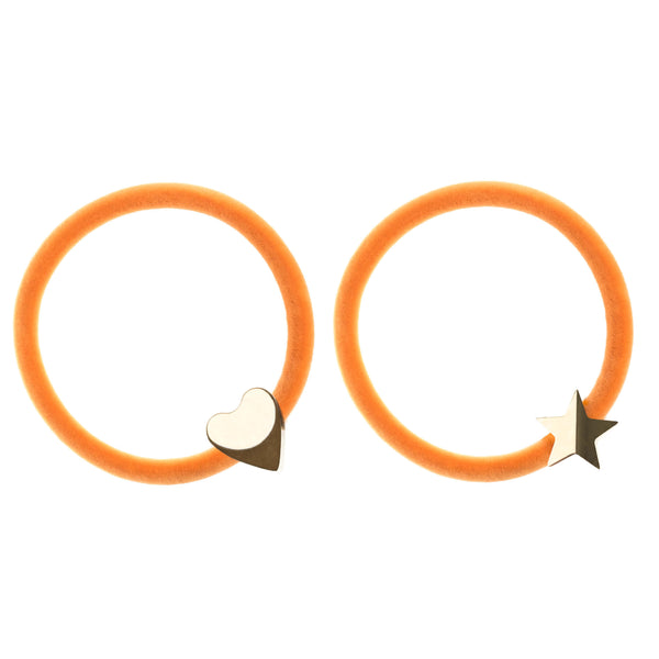 2 PK VELVET HAIR TIE PALE ORANGE W/GOLD HEART & STAR