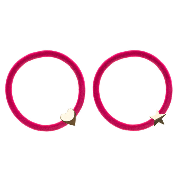 2 PK VELVET HAIR TIE PINK W/GOLD HEART & STAR