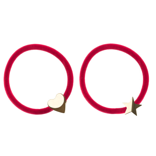 2 PK VELVET HAIR TIE RED W/GOLD HEART & STAR