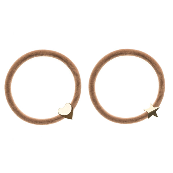 2 PK VELVET HAIR TIE SAND W/GOLD HEART & STAR