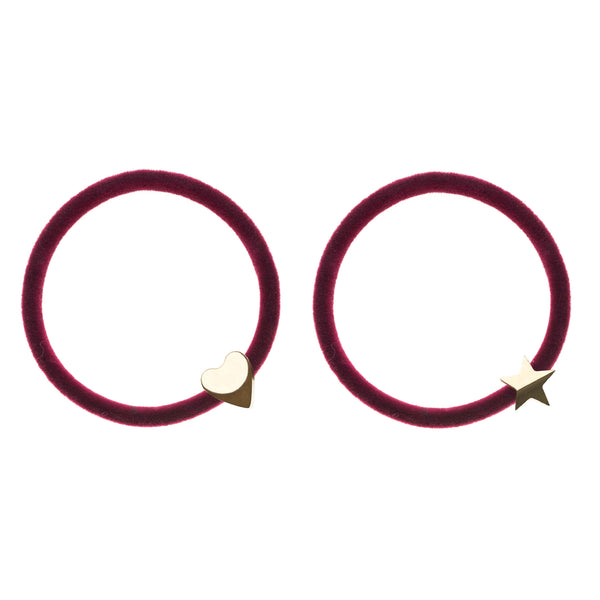 2 PK VELVET HAIR TIE WILDBERRY W/GOLD HEART & STAR